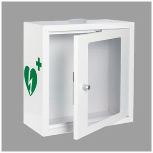 Beltéri stroboszkópos fehér riasztós fali szekrény AED defibrillátor tárolásához
