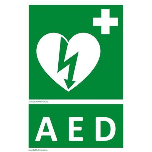 """Defibrillátor jelző műanyag tábla """"AED"""" felirattal"""