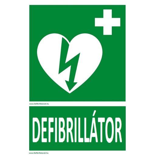 """Defibrillátor jelző műanyag tábla """"Defibrillátor"""" felirattal"""