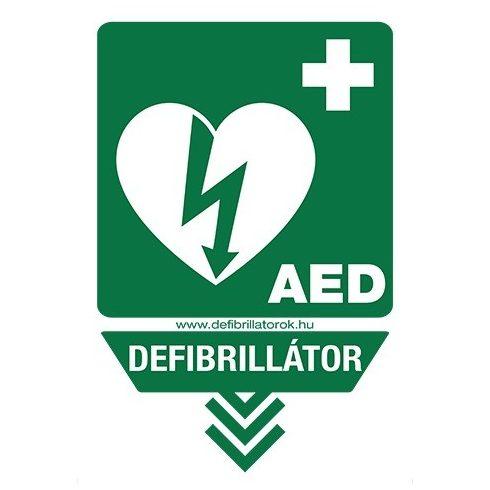 """Nyíl alakú defibrillátor jelző műanyag tábla """"Defibrillátor és AED"""" felirattal"""