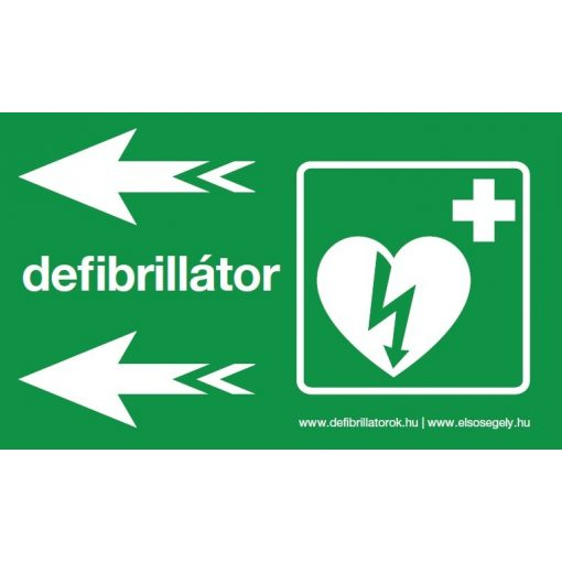 Defibrillátor jelző műanyag tábla nyíl balra/fekvő