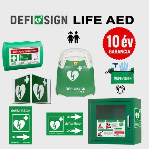 Iskolai csomag: DefiSign LIFE automata defibrillátor 10 év garancia + gyermek elektróda és AED tároló
