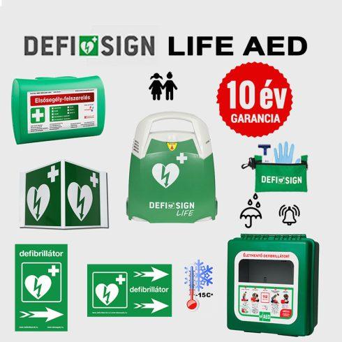 Sport csomag: DefiSign LIFE automata defibrillátor 10 év garancia + Gyermek elektróda + Fűthető, por és vízálló tároló