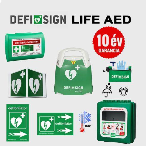 Ipari csomag: DefiSign LIFE félautomata defibrillátor 10 év garancia + Fűthető, por és vízálló tároló
