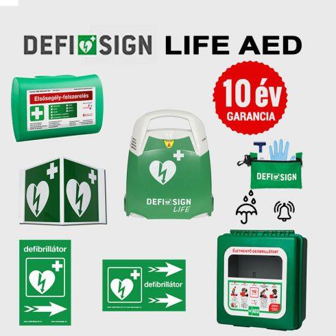 Ipari csomag: DefiSign LIFE félautomata defibrillátor 10 év garancia + Por és vízálló tároló