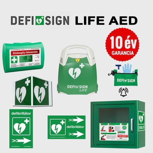 Irodai csomag: DefiSign LIFE félautomata defibrillátor 10 év garancia + AED tároló