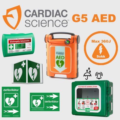 Ipari csomag: CardiacScience (félautomata) Powerheart G5  Por és vízálló tárolóval