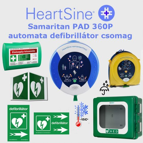 Ipari csomag: HeartSine Samaritan PAD 360P Fűtött por és vízálló tárolóval
