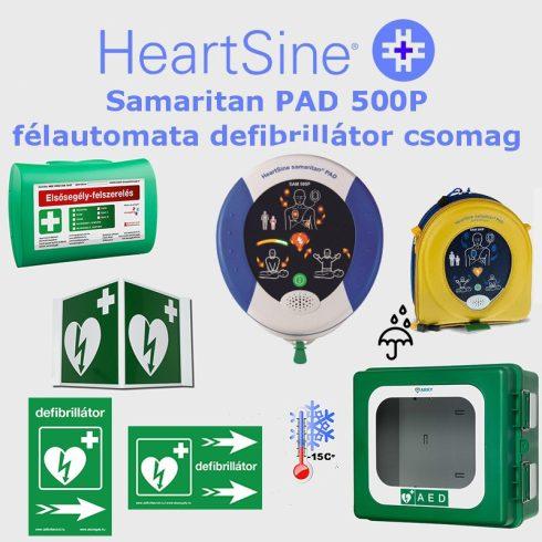 Ipari csomag: HeartSine Samaritan PAD 500P Fűtött por és vízálló tárolóval
