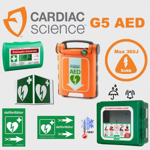 Ipari csomag: CardiacScience (félautomata) Powerheart G5  Fűtött, por és vízálló tárolóval