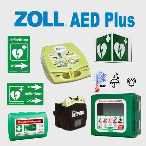 Ipari csomag: Zoll AED Plus félautomata defibrillátor fűtött riasztós por és vízálló AED tárolóval