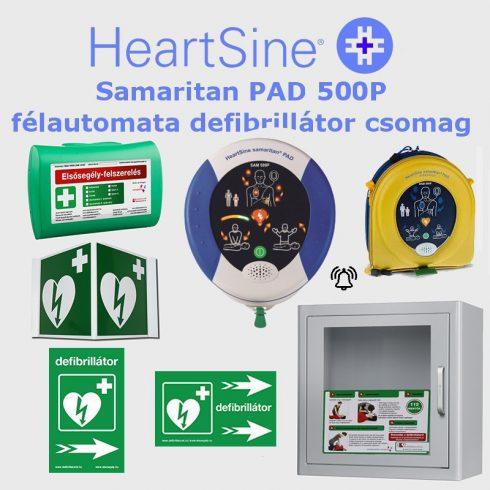 Irodai csomag: HeartSine Samaritan PAD 500P Riasztós AED tárolóval