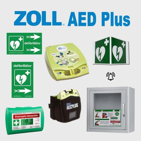 Irodai csomag: Zoll AED Plus félautomata defibrillátor riasztós AED tárolóval