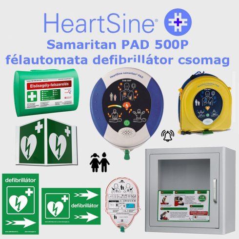 SPORT (gyermek) csomag: HeartSine Samaritan PAD 500P Riasztós AED tárolóval