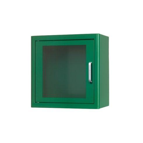 Beltéri zöld fali szekrény AED defibrillátor tárolásához